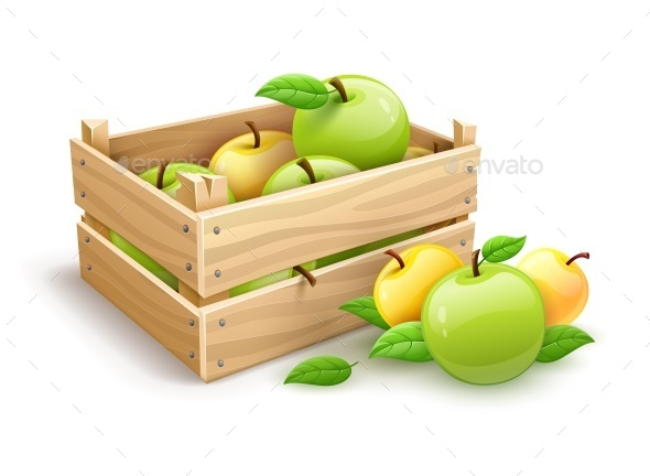Apple Fruits Garden Harvest in Wooden Box - Food Objects
