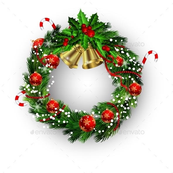 White Card With Christmas Wreath And Bow - Christmas Seasons/Holidays
