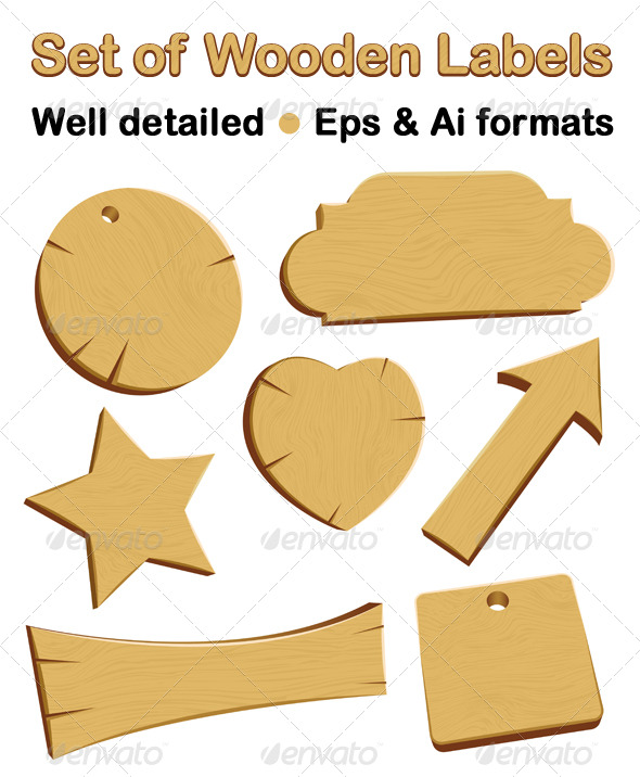 Wooden labels or badges - Miscellaneous Vectors