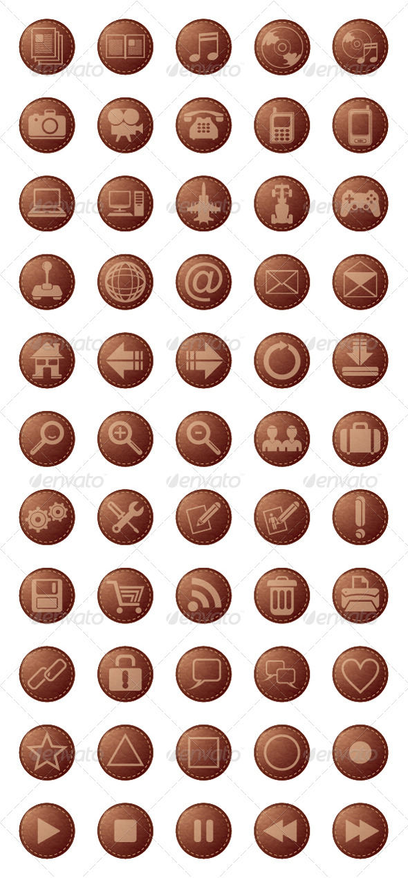 Leather Icons - Media Icons
