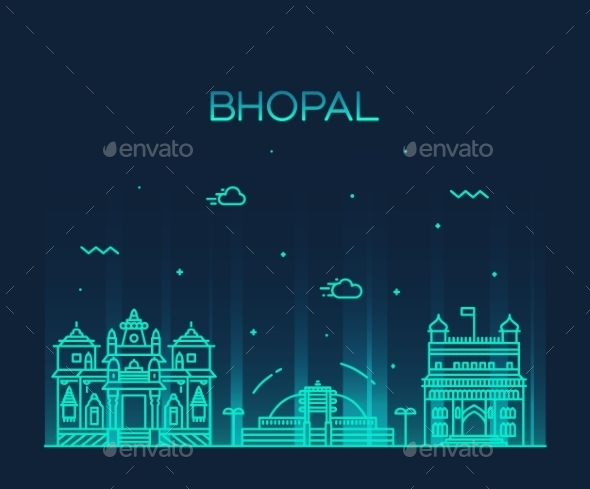 Bhopal Skyline Vector Illustration Linear Style - Landscapes Nature