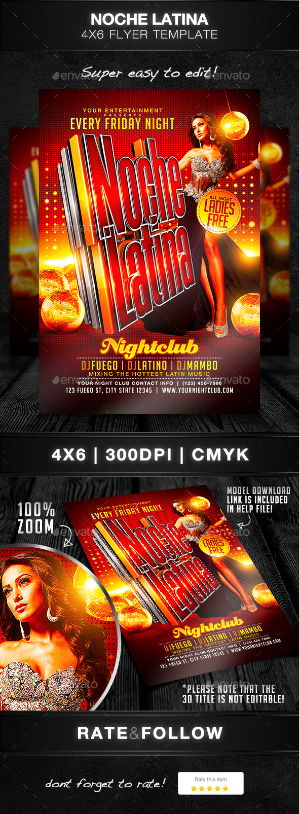 Noche Latina Flyer Template - Clubs & Parties Events