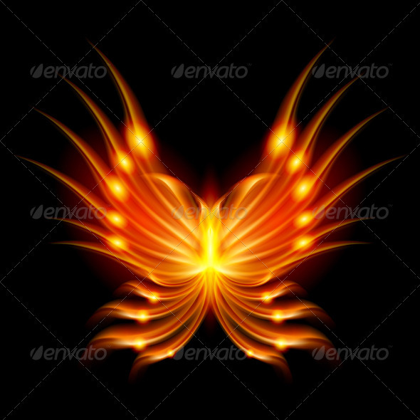 Flying butterfly with fiery wings - People Characters