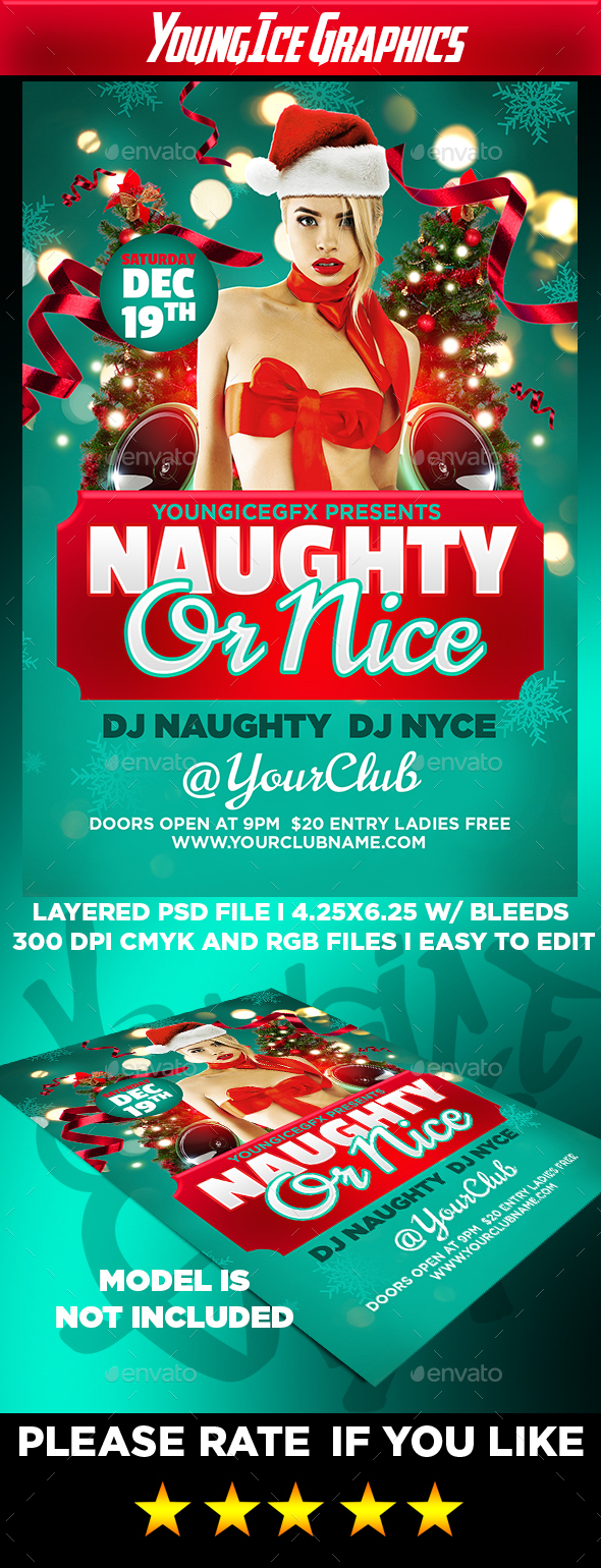 Naughty or Nice Flyer Template - Clubs & Parties Events
