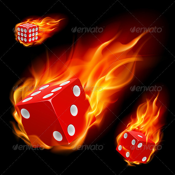 Dice in fire - Tattoos Vectors