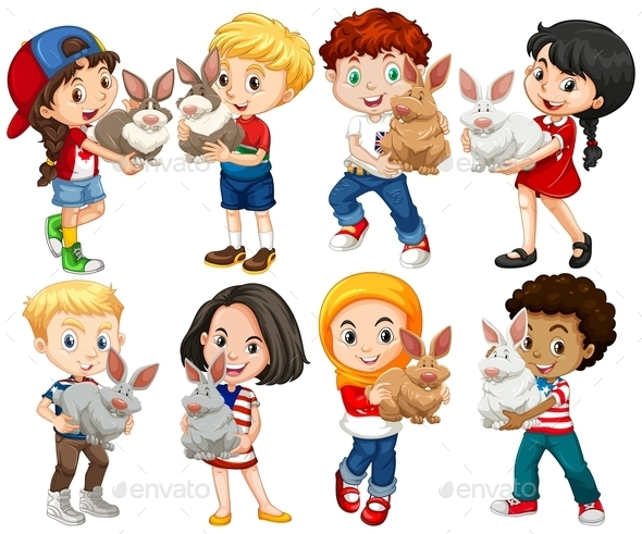Boys and Girls with Rabbit Pet - People Characters