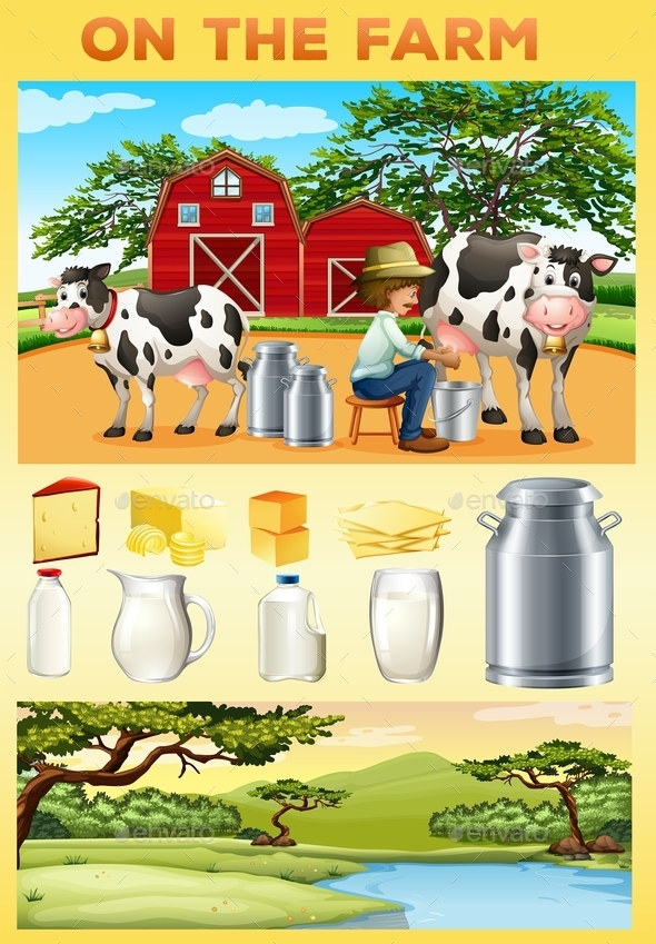 Farm Theme with Farmer and Dairy Products - Food Objects