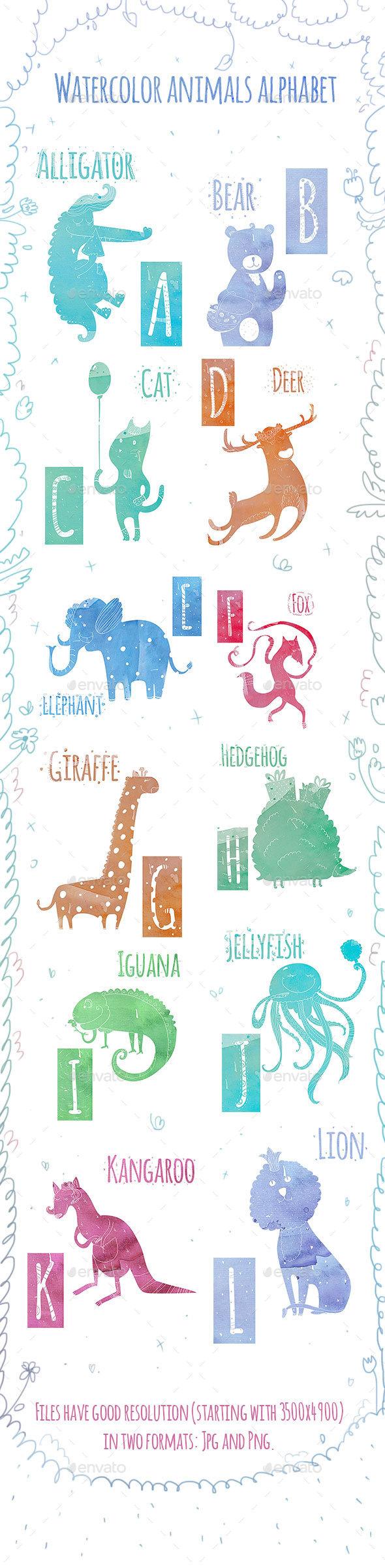 Animal Watercolor Alphabet (A-L) - Decorative Graphics
