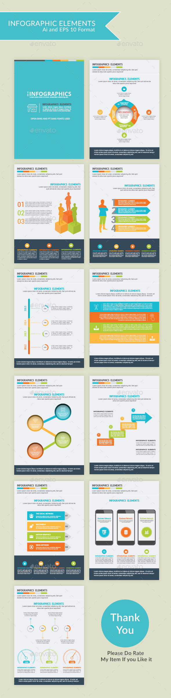 Modern Infographic Elements - 10 pages - Infographics