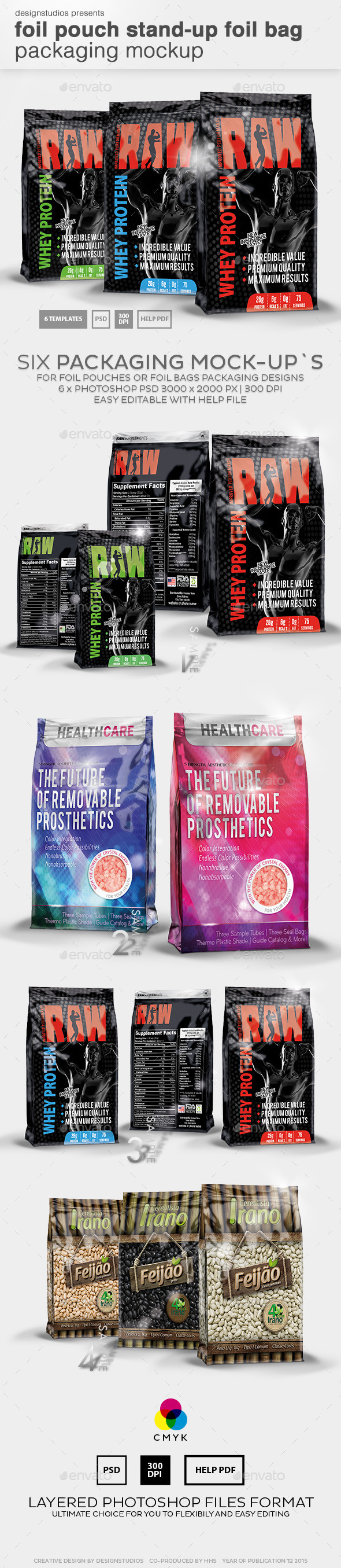 Foil Pouch Stand-Up Foil Bag Packaging Mockup - Product Mock-Ups Graphics