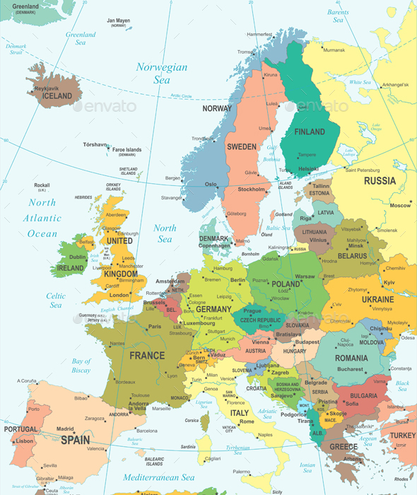 Europe  Map - Colored and Grid Illustration. - Travel Conceptual