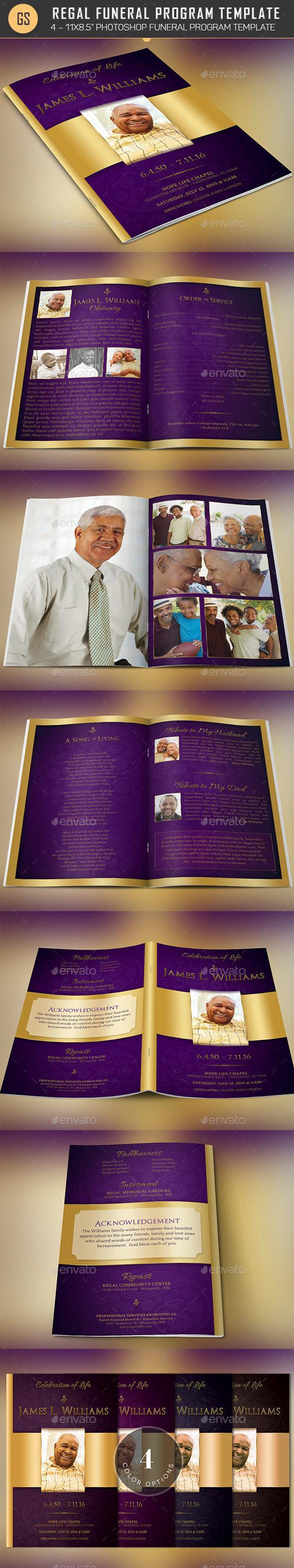 Regal Funeral Program Template - Informational Brochures