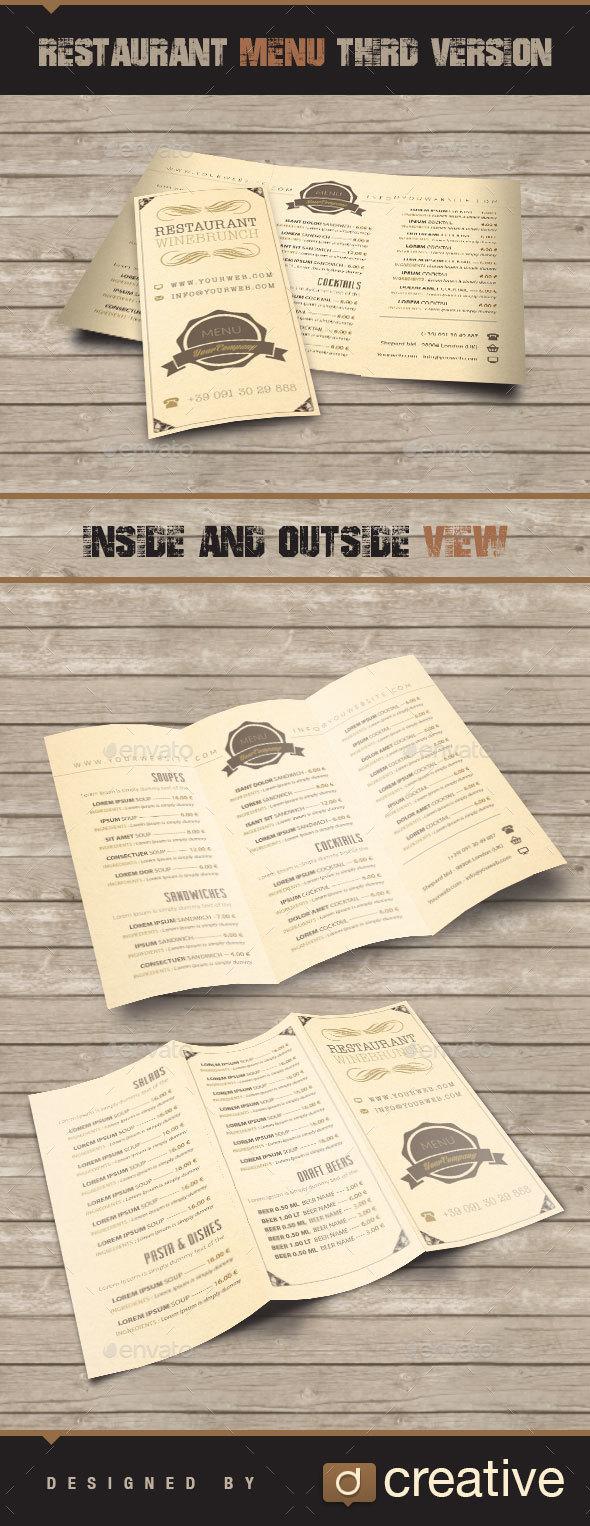 Restaurant , Bar Menu three folded V3 - Food Menus Print Templates