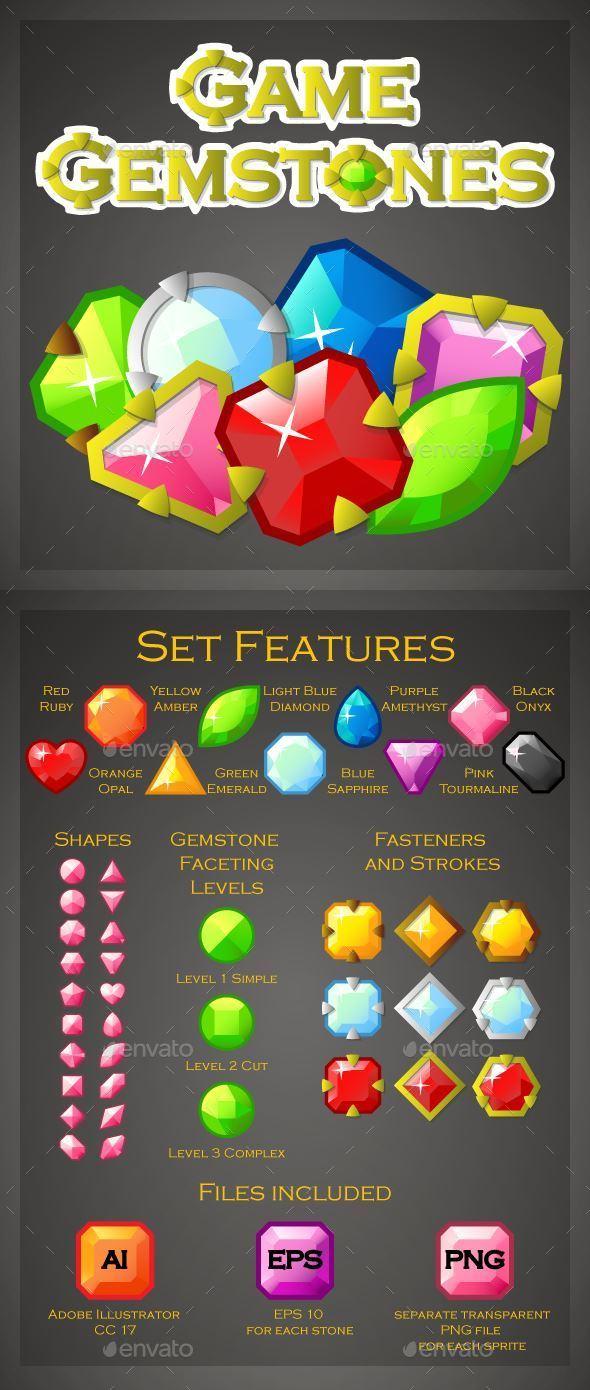 Game Gemstones - Sprites Game Assets
