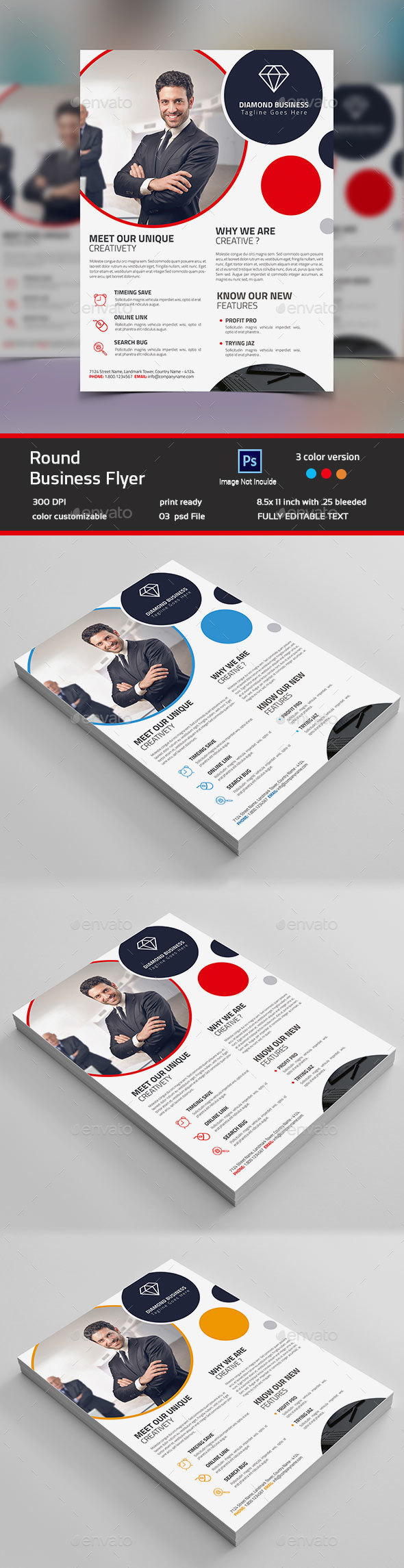 Round Business Flyer - Flyers Print Templates