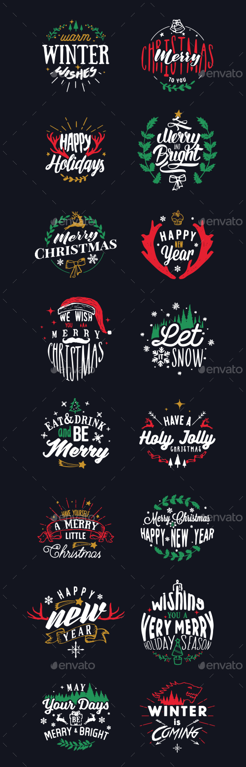 Vectorized Christmas Letters And Numbers