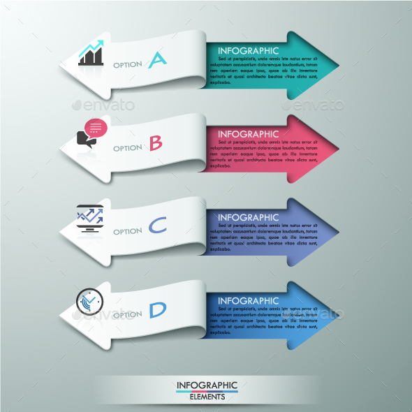 Modern Infographics Ribbons Template - Infographics