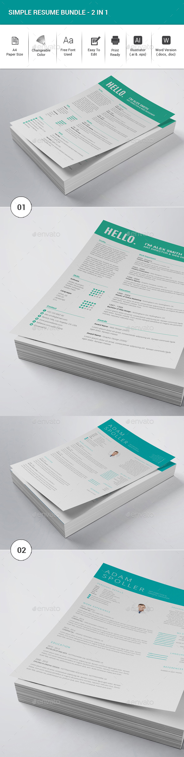 Simple Resume Bundle - 2in1 - Resumes Stationery