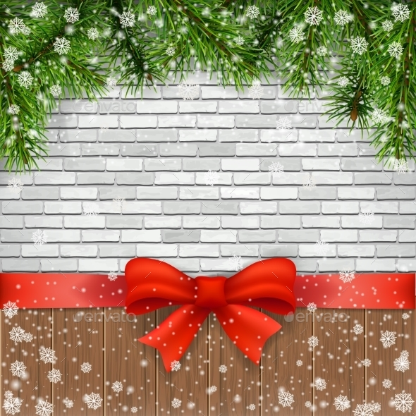Pine Branches And Bow On a Background Of Bricks. - Christmas Seasons/Holidays