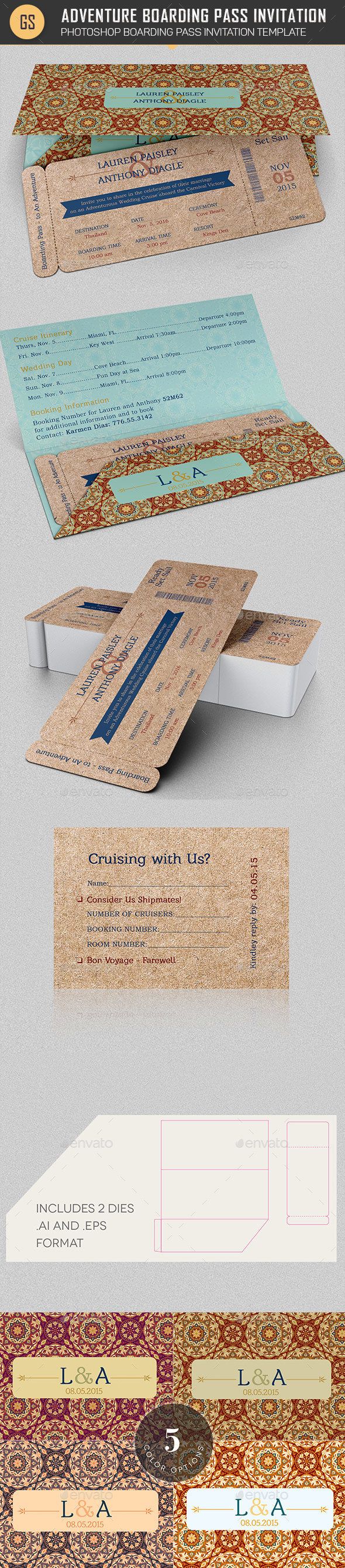 Wedding Adventure Boarding Pass Invitation Template