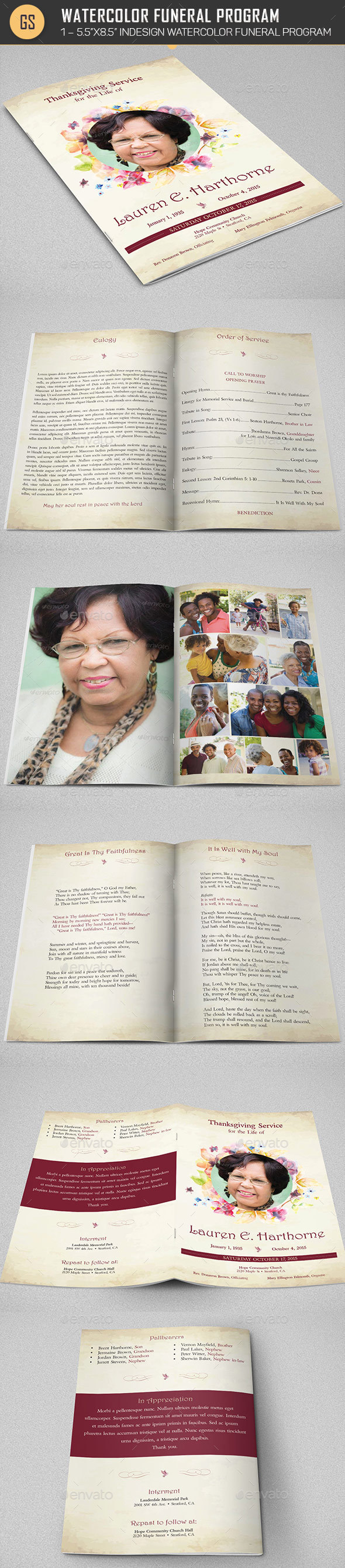 Watercolor Funeral Program Template - Informational Brochures