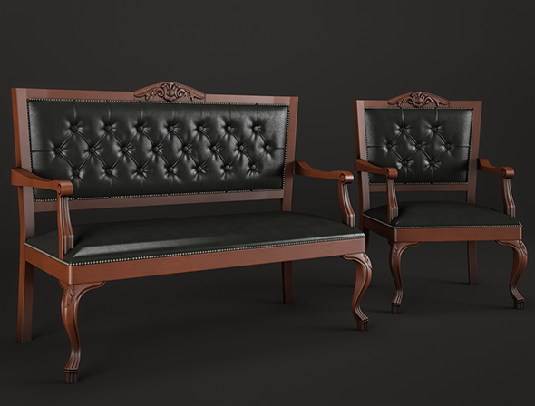 Banquette and armchair Lui RAMBAY - 3DOcean Item for Sale
