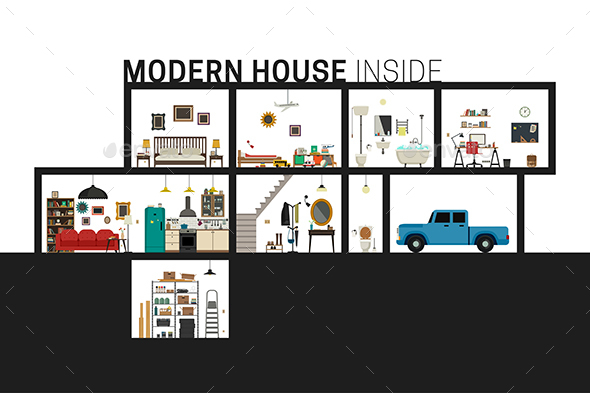 Modern House in Cut. - Buildings Objects