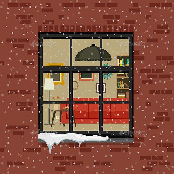 Winter Window in Brick Wall - Buildings Objects
