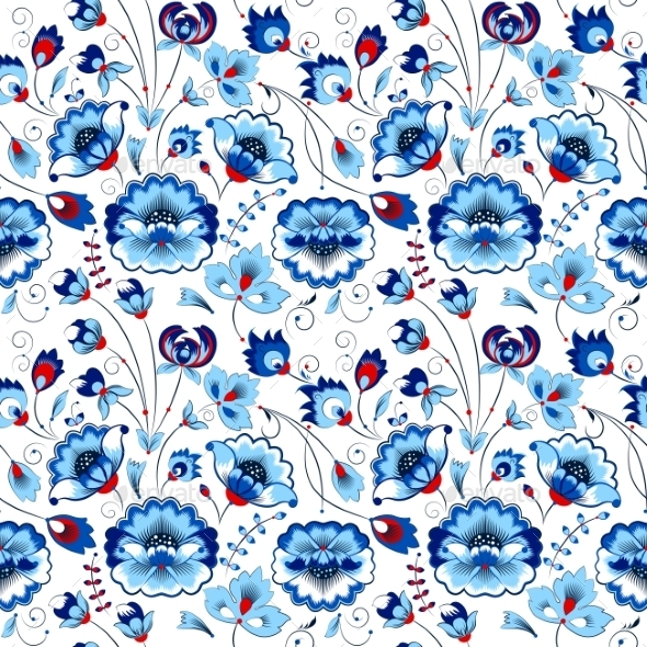 Floral Seamless Pattern In Country Style - Flowers & Plants Nature