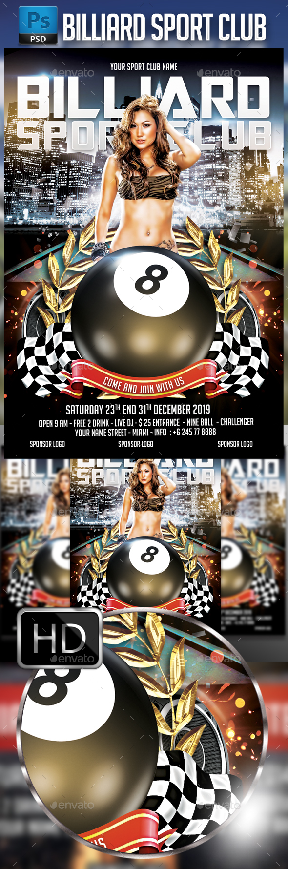 Billiard Flyer templates - Events Flyers