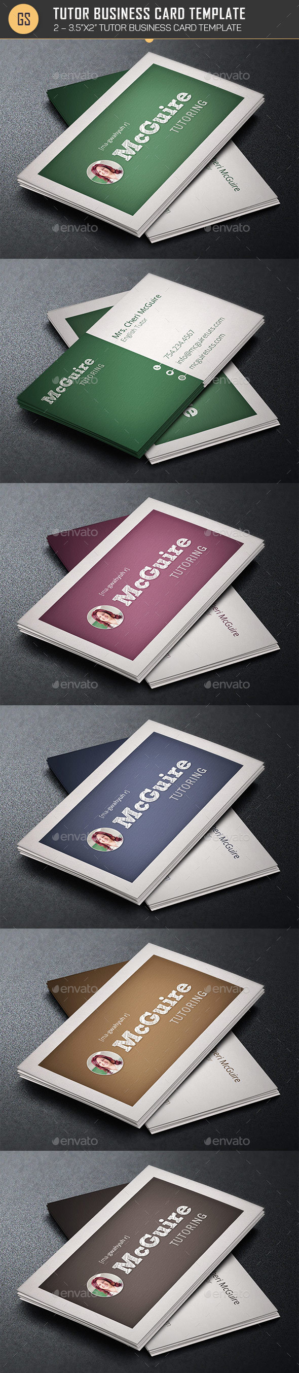 Tutor Business Card Template  - Industry Specific Business Cards