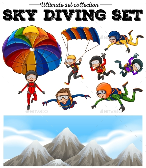 People Doing Sky Diving and Mountain Scene - People Characters