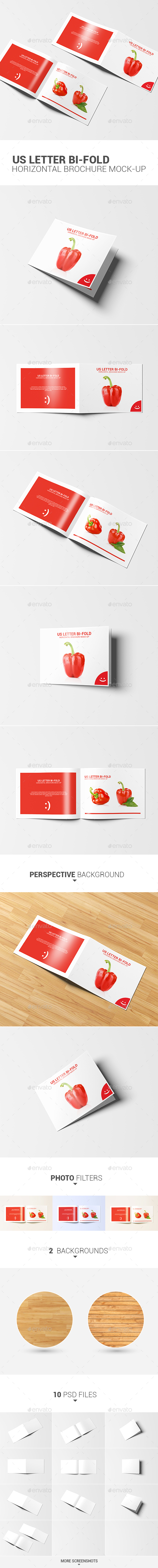 US Letter Bi-fold Horizontal Brochure Mock-Up - Product Mock-Ups Graphics