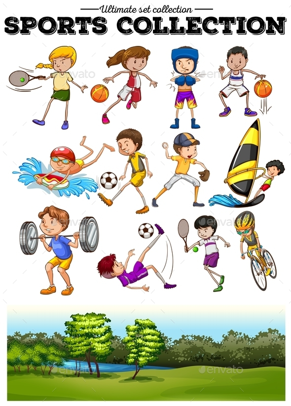 Diverse Sport Set and Green Field - People Characters