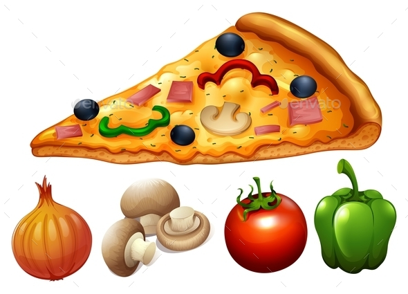 Slice of Pizza and Ingredients - Food Objects