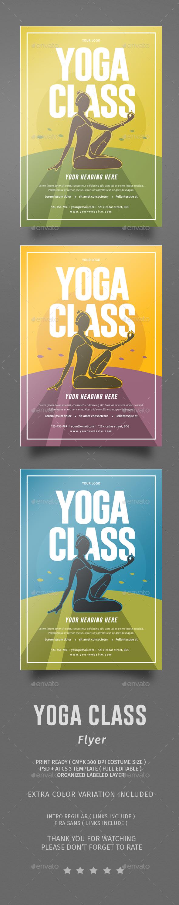 Yoga Class Flyer - Flyers Print Templates