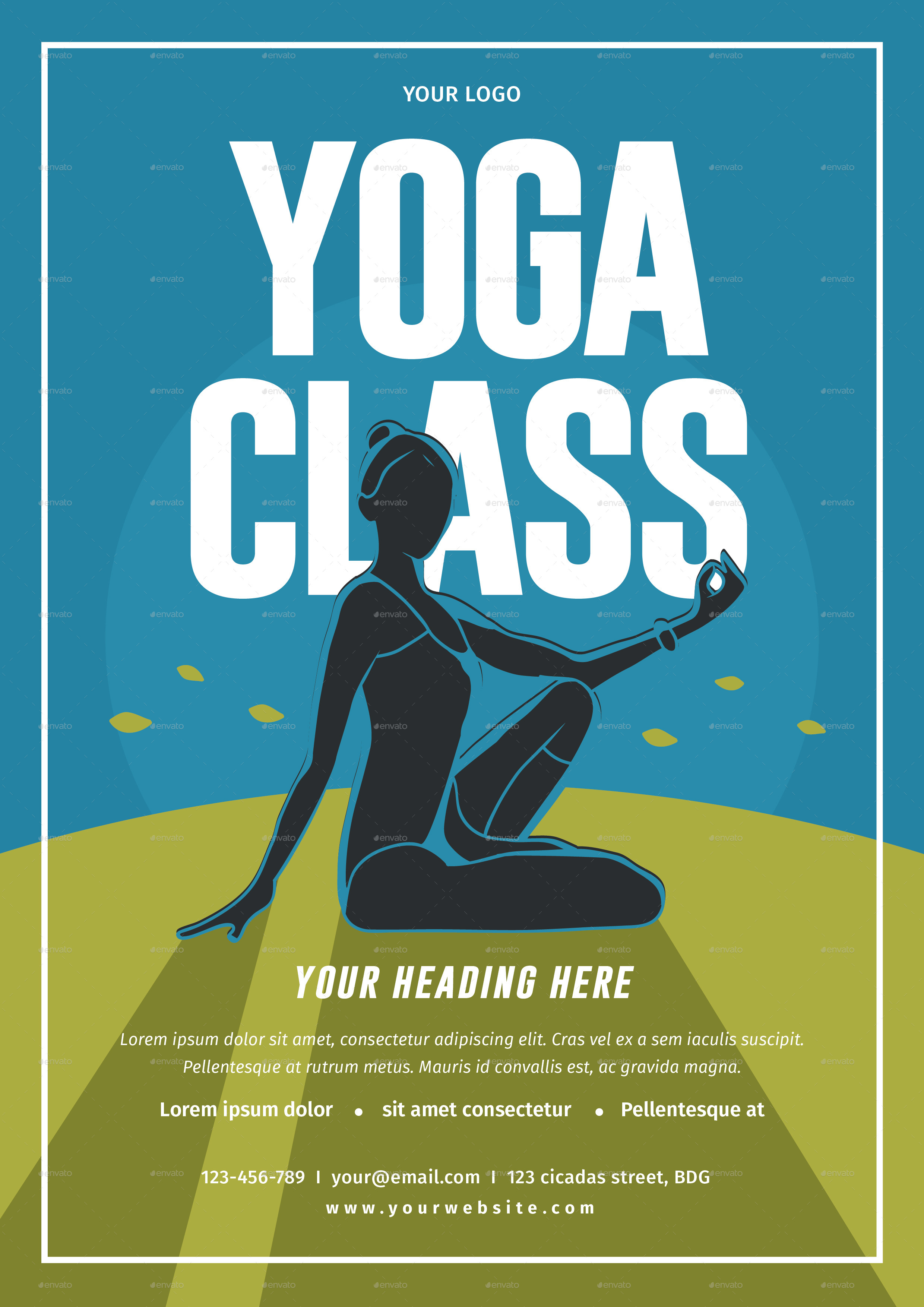 Yoga class flyer by lilynthesweetpea graphicriver for Yoga brochure templates free