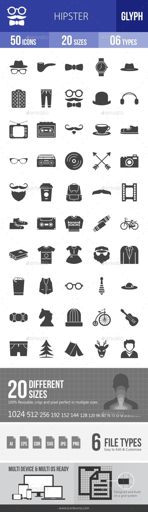 Hipster Glyph Icons - Icons