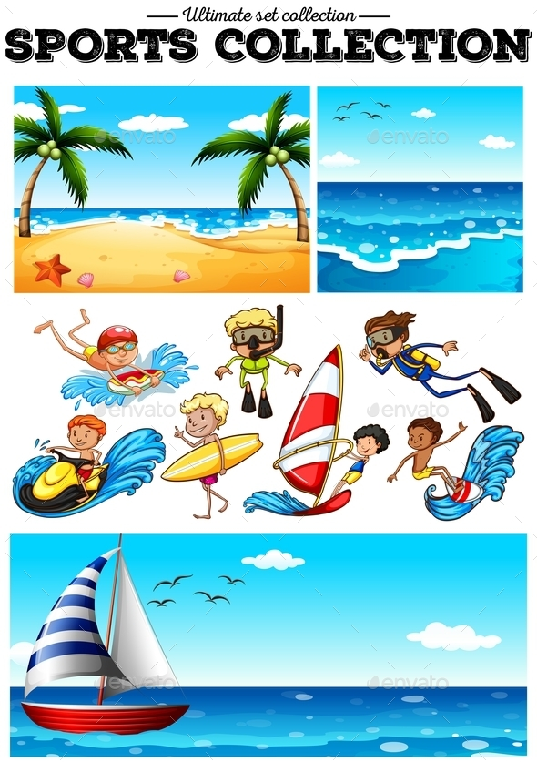 People Doing Water Sports and Beach Scences - People Characters