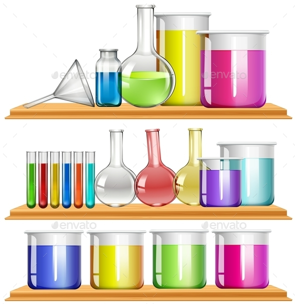Lab Equipment Filled with Chemical - Objects Vectors