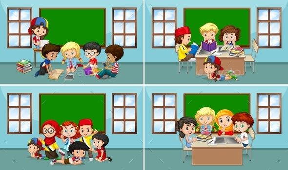 Children Working in the Classroom - People Characters
