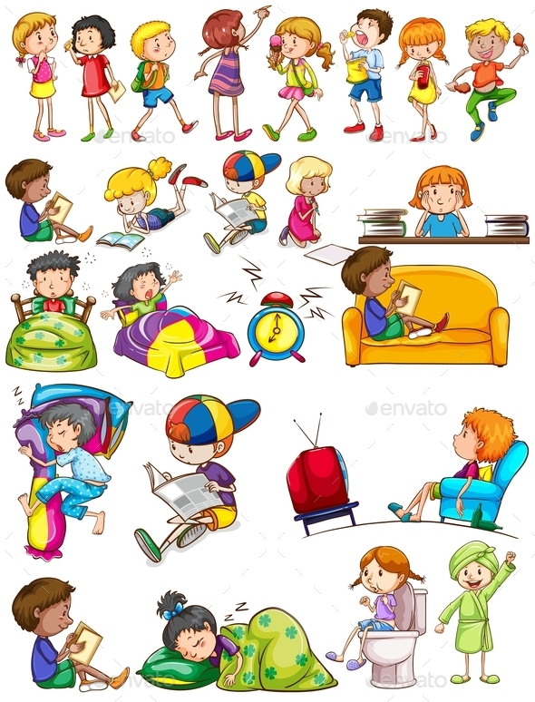 Boys and Girls Doing Activities - People Characters