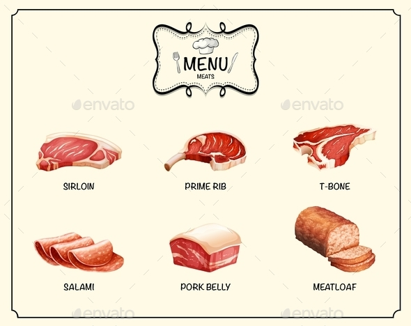 Different Kind of Meat Products - Food Objects