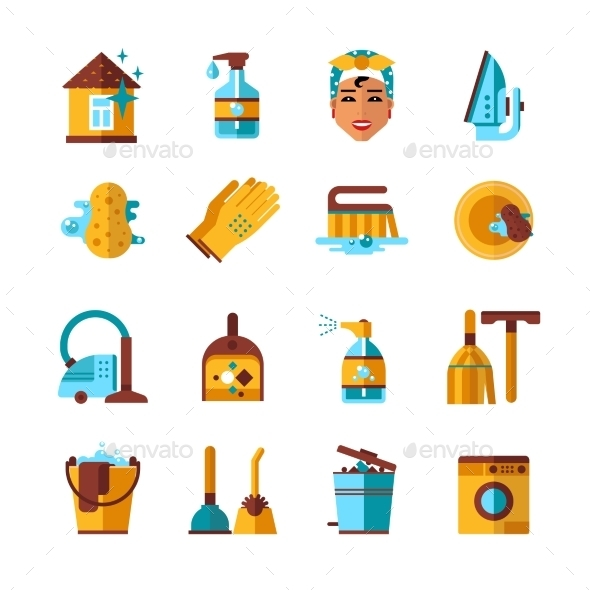 Housekeeping Cleaning Flat Icons Set - Objects Icons