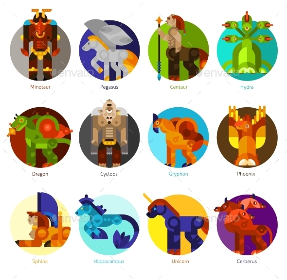 Mythical Creatures Icons Set - Animals Characters