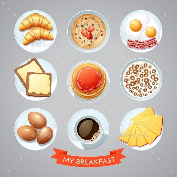 Poster With Breakfast Set - Backgrounds Decorative