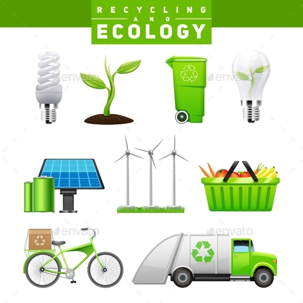 Recycling And Ecology Images Set - Technology Conceptual