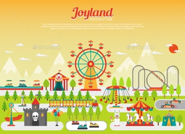 Amusement Park Concept - Conceptual Vectors