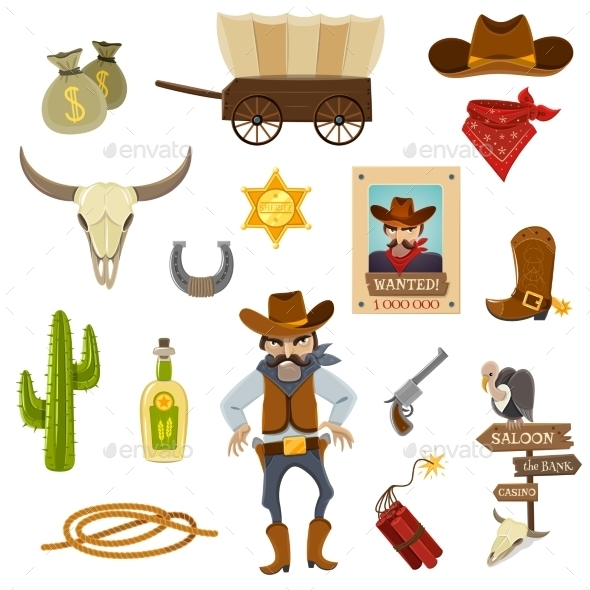 Cowboy Icons Set  - People Characters