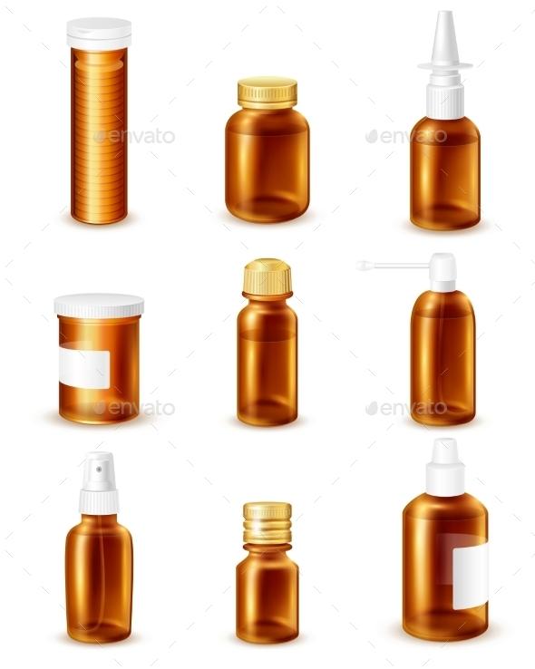 Pharmaceutical Bottles Set - Health/Medicine Conceptual